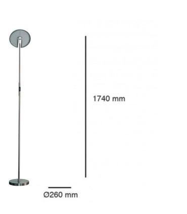 Dimensiones Lámpara de pie Led 30W Níquel Regulable con mando a distancia