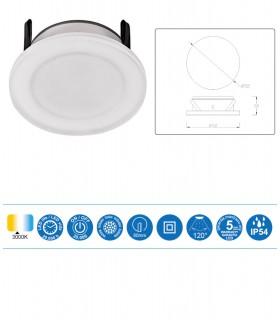 Características Foco Empotrable METACRILATO LED 7w IP54 Blanco Mantra