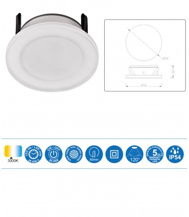 Características Foco Empotrable METACRILATO LED 7w IP54 Blanco Mantra