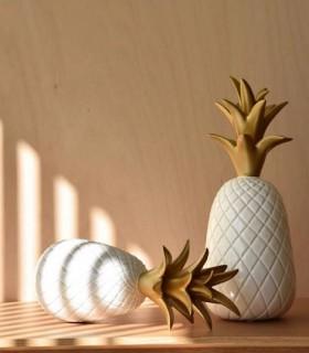 PIÑA grande en ceramica blanco y oro VP