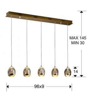 Lámpara ROCIO 5 led oro - Schuller 783627