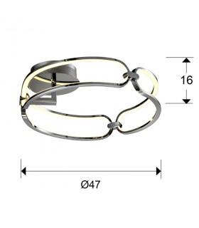 Medidas plafón COLETTE 47cm cromo led - Schuller