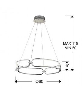 Lámpara COLETTE 60cm cromo led - Schuller 786831