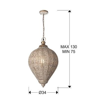 Lampara 1 L TEBAS 33cm. dorada - Schuller 443196