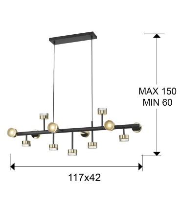 Lampara 13 luces ALTAIS II negro oro de Schuller 364355