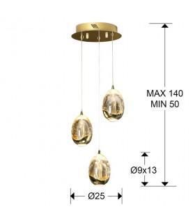 Lampara 25 cm. ROCIO 3 led oro 783741 Schuller