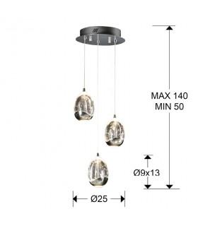 Lámpara 25cm ROCIO 3 led cromo - Schuller 783753