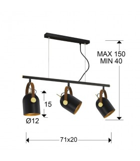 Lámpara 3 luces ADAME negro oro de Schuller 346724
