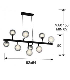 Lámpara 9 L ALTAIS negro cromo -Schuller 345509