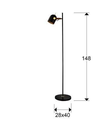Lámpara de pie ADAME 1 luz Negro oro - Schuller 346109