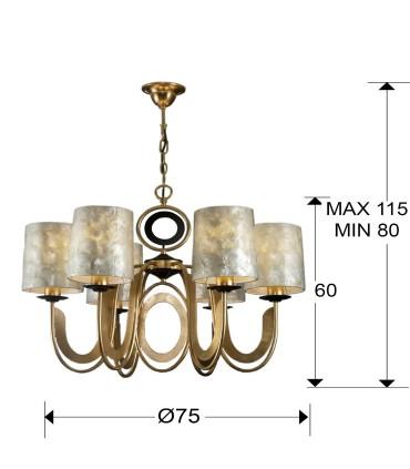 Lampara EDEN oro 6 luces - Schuller 716620