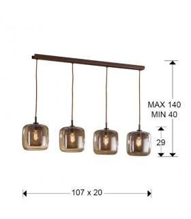 Lámpara FOX 4 luces chocolate - Schuller 653422