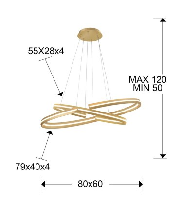 Lámpara pequeña ELIPSE oro - Schuller 652138