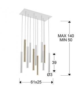 Lampara VARAS oro blanco 11 luces - Schuller