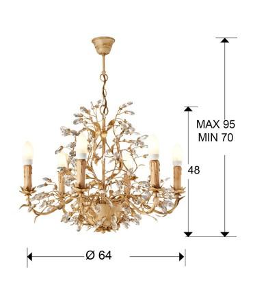Lámpara VERDI 6 luces marfil y oro - Schuller 481016