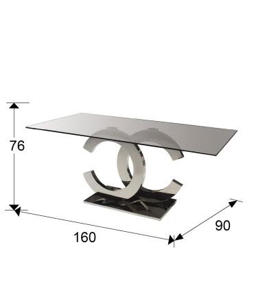 Mesa comedor CALIMA acero 160cm - Schuller 820426/2059P