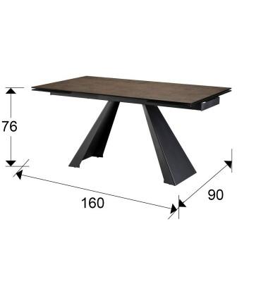 Medidas mesa comedor extensible ALAI marrón - Schuller 983162