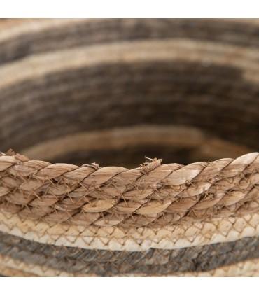 Set 3 Cestos NATURAL-Gris fibra natural 33 X 33 X 26 CM