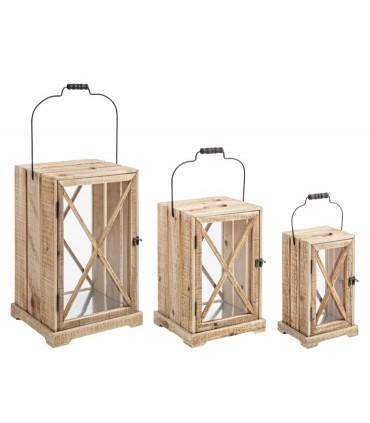 Set 3 faroles rectangulares Timber caja de madera