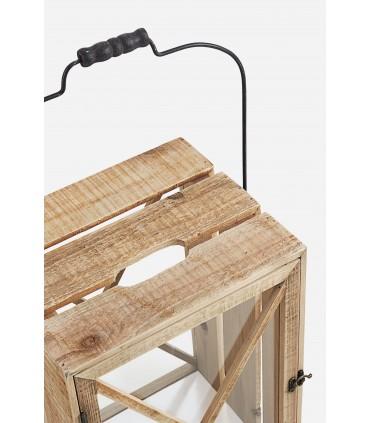 Detalle Set 3 faroles rectangulares Timber caja de madera