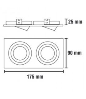 Dimensiones Foco empotrable Helium 2 luces Aluminio