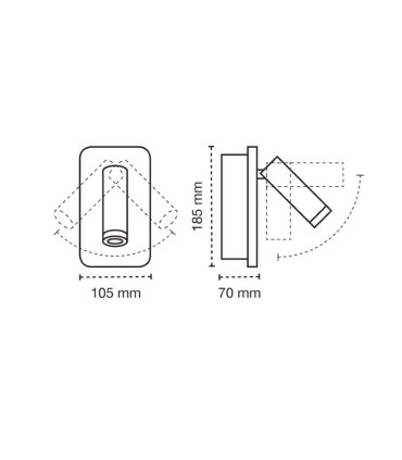 Dimensiones Aplique de pared LED 11W+3W Irena blanco