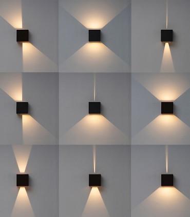 Variación manual de haces de luz. Aplique Davos 6520 cubo gris oscuro IP54 - Mantra