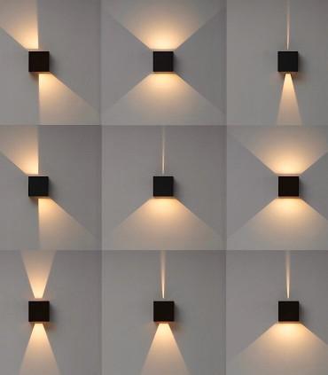 Efectos de luz aplique Davos 6524 cubo marrón corten IP54 - Mantra (imagen mostrada con aplique Davos negro arena)
