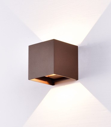 Aplique Davos 6524 cubo marrón corten IP54 - Mantra