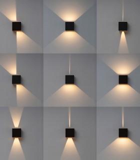 Modificaciones en los haces de luz que puedes realizar en el aplique Davos XL 7438 marrón corten 20W IP65 - Mantra