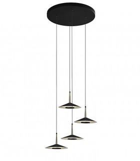 Lámpara techo 4L Orion Led 32W negro-cuero - Mantra