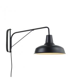 Aplique estilo Industrial negro brazo orientable con interruptor y enchufe