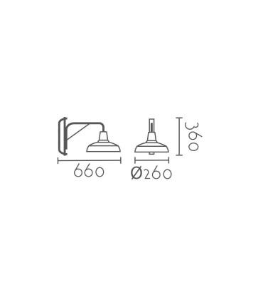 Medidas: Aplique estilo Industrial negro brazo orientable con interruptor y enchufe