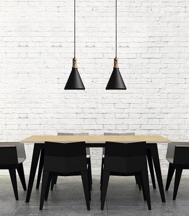 Lámpara colgante nórdica ND1N metal negro-madera Ø25cm E27