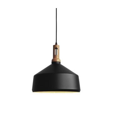 Lámpara colgante nórdica ND2N metal negro-madera Ø35cm E27