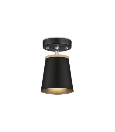 Aplique-plafón nórdico ND5 metal negro-madera Ø13cm E27