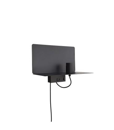 Aplique pared TD3 metal NEGRO E27 con cargador USB