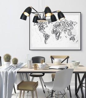 Lámpara nórdica grande ND17LN metal negro-madera 6L E27 Ø90cm