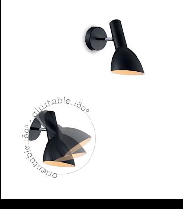 Aplique de pared orientable ND20N metal negro E27