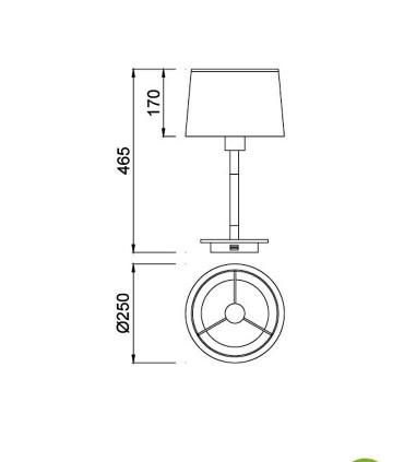 Lámpara de Sobremesa NÓRDICA Con USB 5464 de Mantra, dimensiones