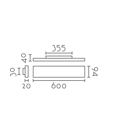 Dimensiones: Aplique plano WZ60 negro 60cm 25W 2250lm
