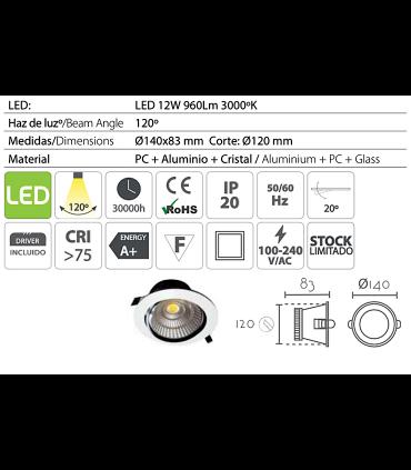 Características: Foco led empotrable redondo blanco 12W Ø14mm BAS12