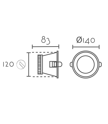 Medidas: Foco led empotrable redondo blanco 12W Ø14mm BAS12