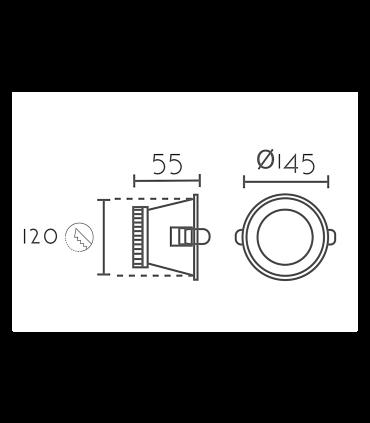 Medidas: Foco led empotrable redondo blanco 7W Ø14.5mm KB13119
