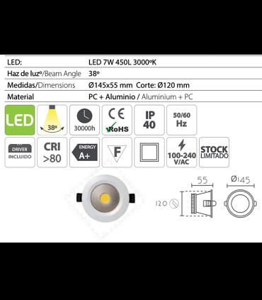 Características: Foco led empotrable redondo blanco 7W Ø14.5mm KB13119