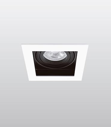 Aro Empotrable cuadrado blanco-negro RCGUR61 GU10 100mm
