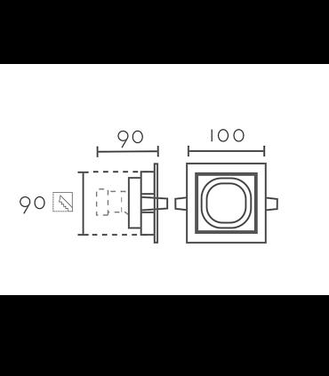 Dimensiones: Aro Empotrable cuadrado blanco-negro RCGUR61 GU10 100mm