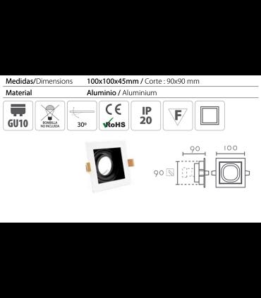 Características: Aro Empotrable cuadrado blanco-negro RCGUR61 GU10 100mm