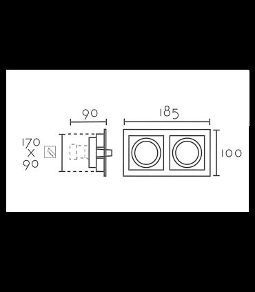 Aro Empotrable rectangular 2L blanco-negro RCGUR62 GU10 185mm
