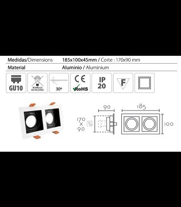 Características: Aro Empotrable rectangular 2L blanco-negro RCGUR62 GU10 185mm